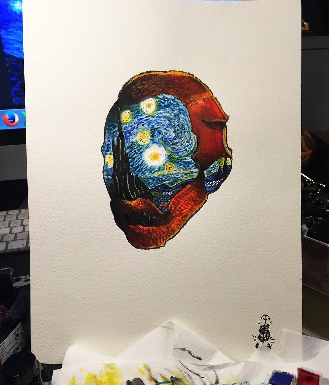 Vincent Van Gogh Tattoo Sketch Idea For Tattoo Starry Night