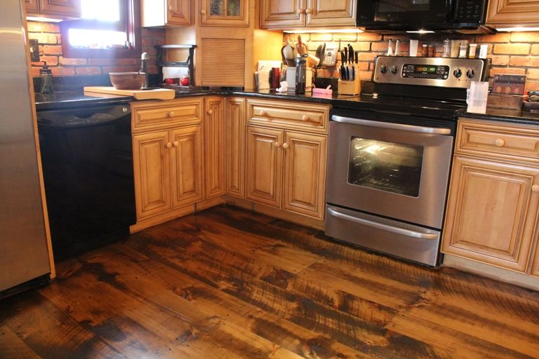 Pine Flooring Wide Planks With Circular Saw Marks For A