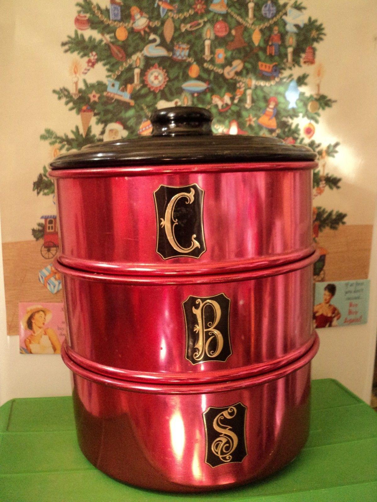 duchess aluminiumware kitchen canisters ruby anodised 3 tier duchess aluminiumware kitchen canisters ruby anodised 3 tier vintage cake tins