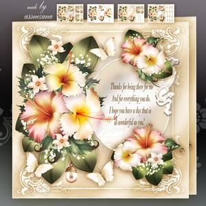 Vintage Hibiscus Bouquet For All Occasion Mini Kit Frames