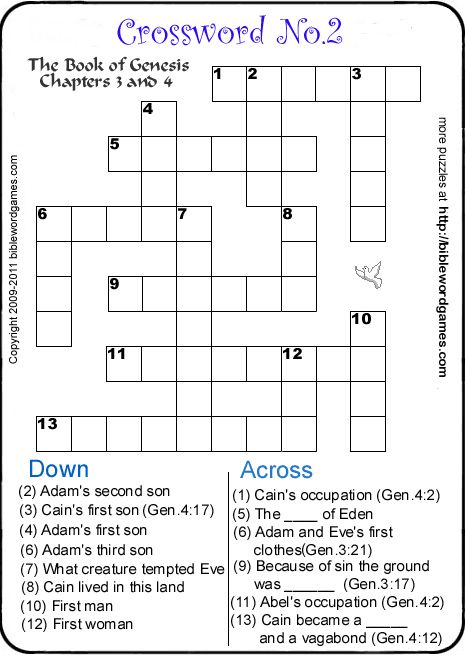Printable Bible Crossword Puzzles Sheets