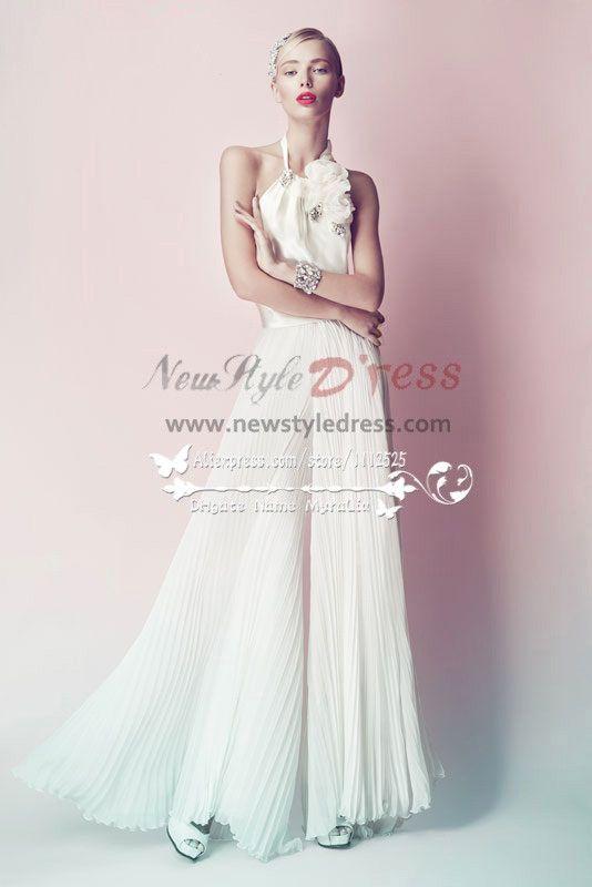c3cb277810c7 Charming chiffon bridal jumpsuit for beach wedding Custom made wps ...