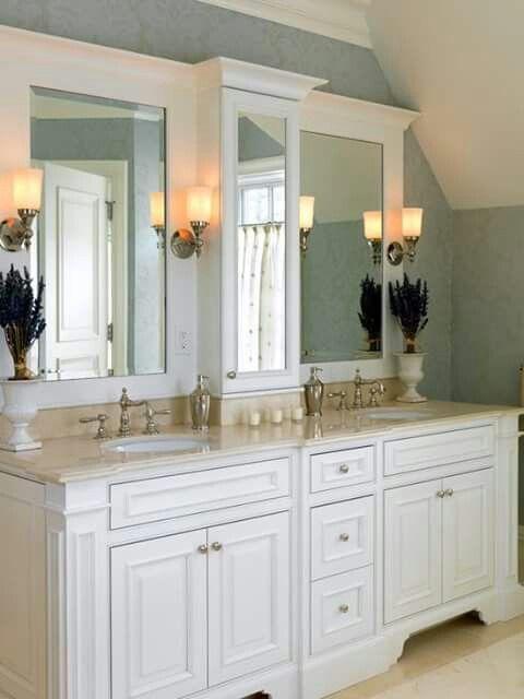 Center Column Storage W Mirrored Door Instead Of Medicine Cabinet Master Bathroom Vanity