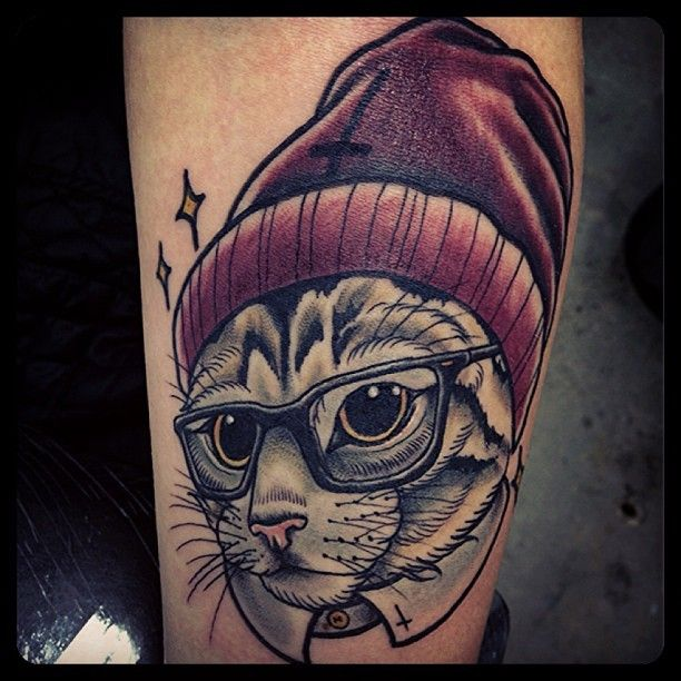 Cat With Glasses And Hat Tattoo Hipster Tattoo Front Shoulder Tattoos Glasses Tattoo