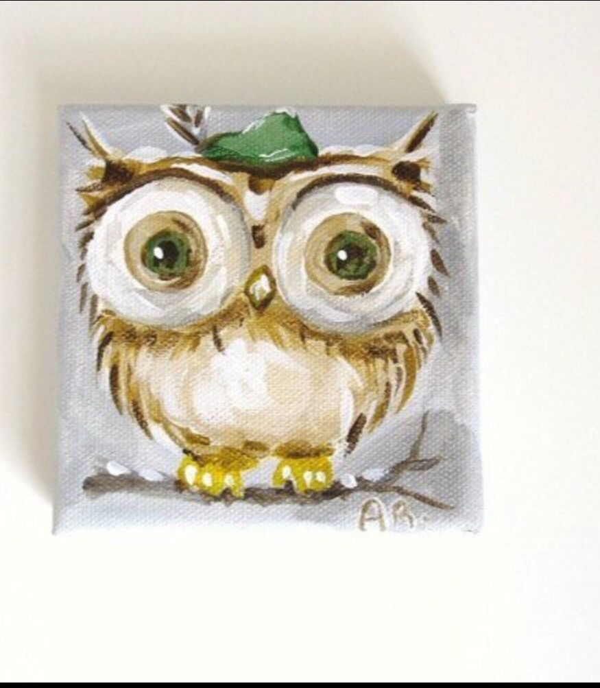 Painting Fall Foliage Two Owls Nestled On A Tree Branch Original