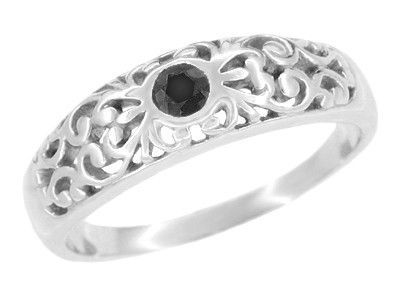 Art Deco Scroll Filigree Black Diamond Ring in Sterling Silver