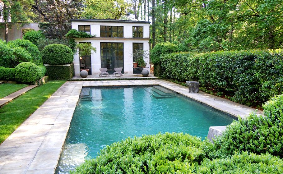 Lush pool setting by howard design studio landscape for Pool design course