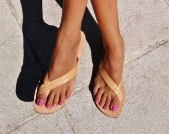THERESA Toe Ring Sandals Leather Sandals Flat by CobblersMistress