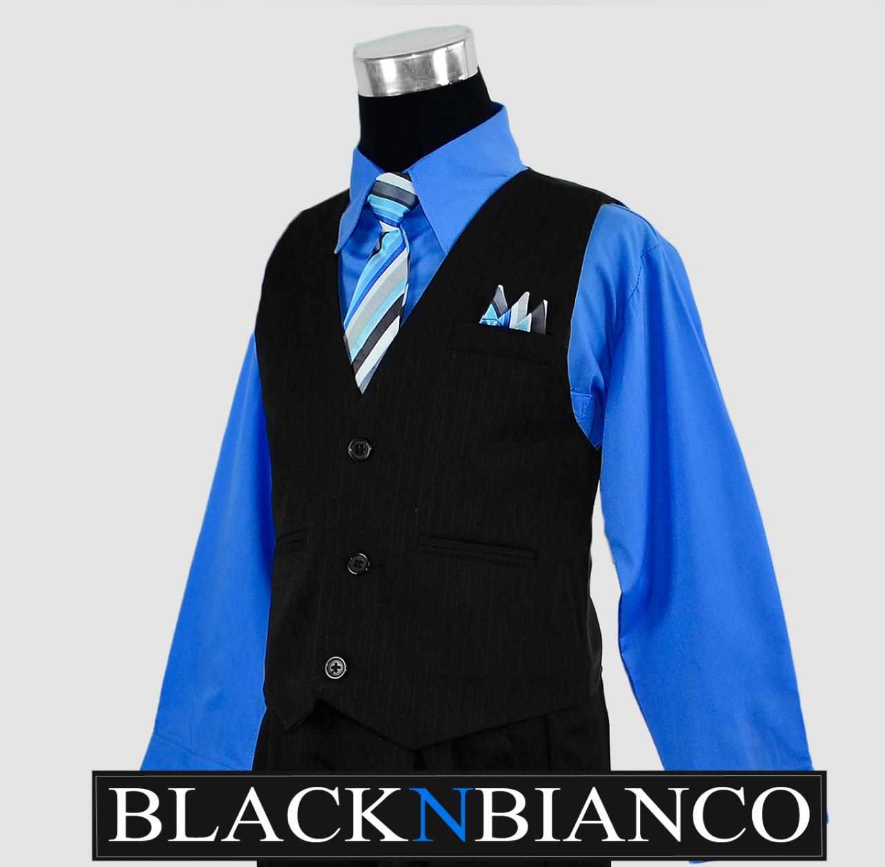 Boys Pinstripe Vest Suit with Blue Shirt 2-14