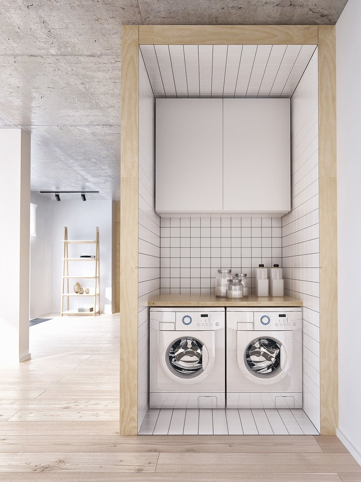 Unique laundry room ideas small space 11 small laundry room cabinet - Interior Small Modern Laundry Roomlayer Ceramic Decorate Stunning Minimalist Apartment For A Family Of Four