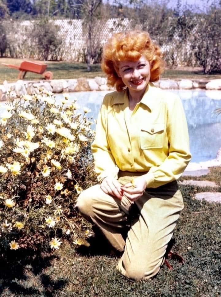 Lucille Ball in her Backyard - 1940s