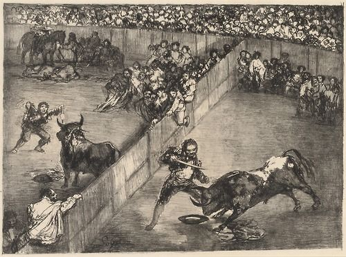 """Bullfight in a Divided Ring"", 1825, Francisco Goya."