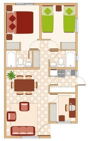 Planta De Casa Interior Design Pinterest Casas Casas Pequenas - Planos-de-casas-de-una-planta-pequeas