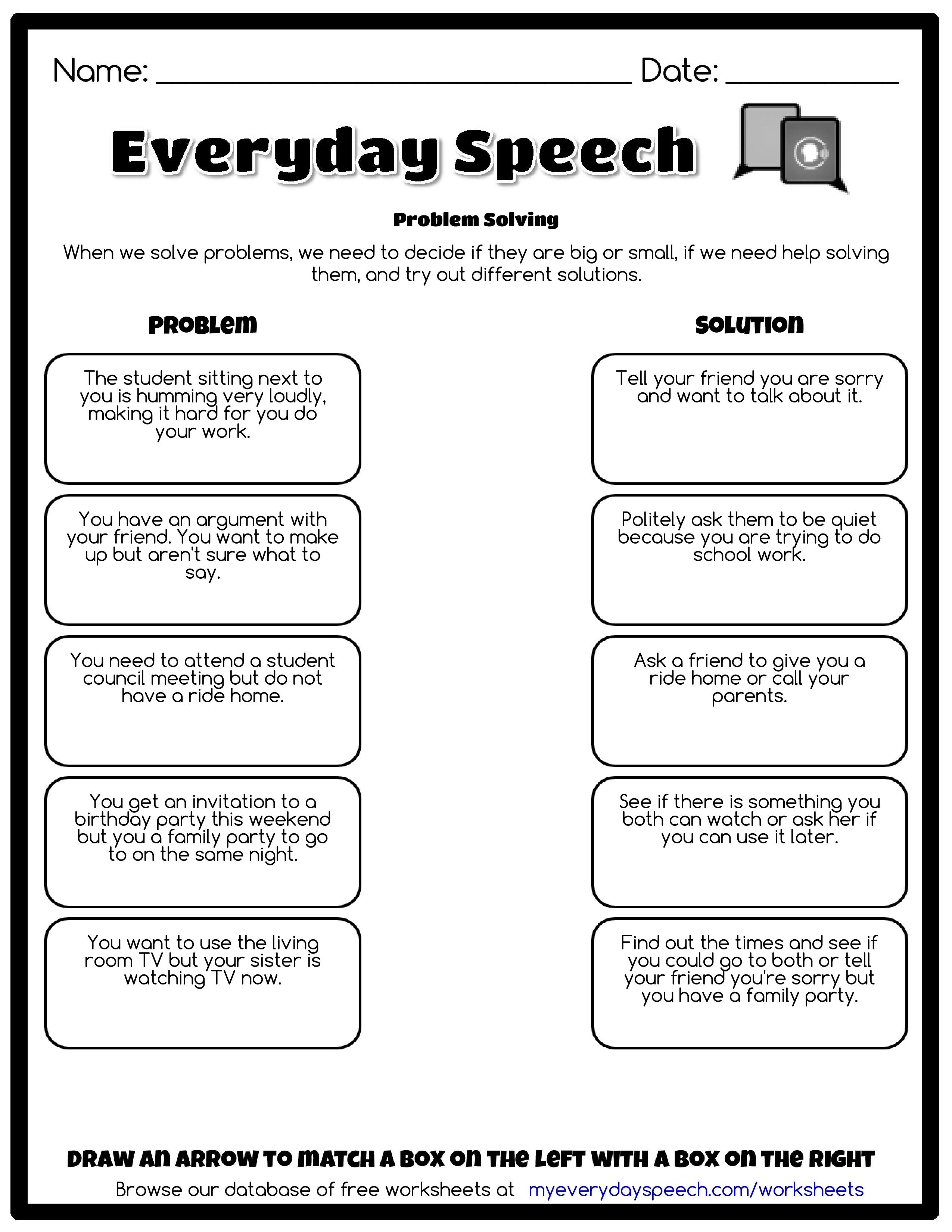 psychology problem solving worksheet