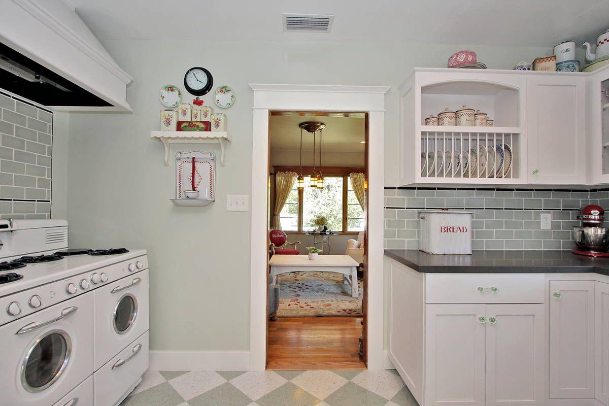 "Vintage kitchen   ... New ""Vintage"" Kitchen - from 1990's Modern to a Classic 1920's Kitchen / nice floor"