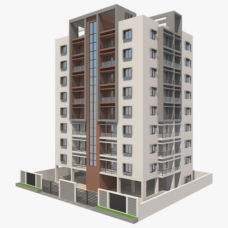 Free Building Apartment 3d Model Residential Building Design 3d Building Models Architecture Building Design