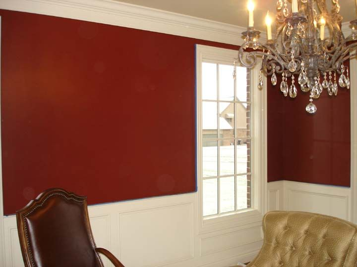 Red Wall Gold Ceiling The Color Is Brick Benjamin Moore