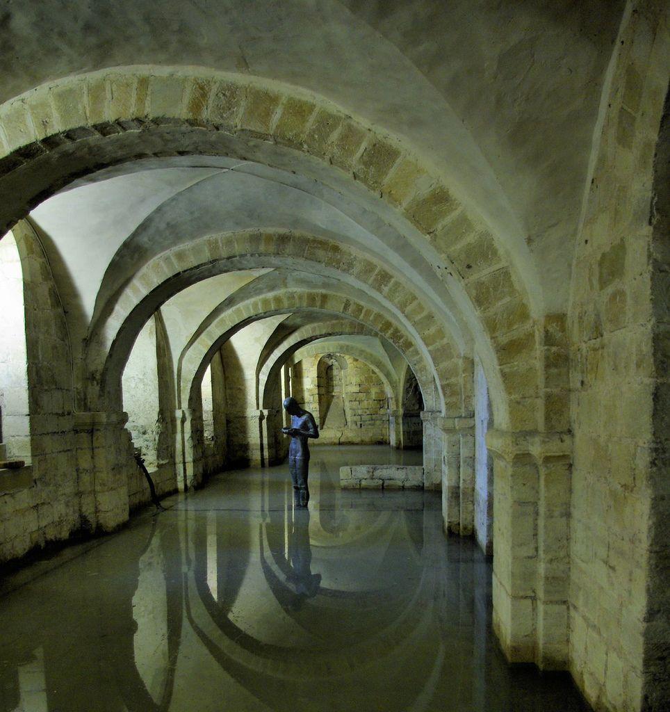 "Antony Gormley [UK] (b 1950) ~ ""SOUND II"", 1986. Lead, fibreglass and water (188 x 60 x 45 cm). Permanent installation Winchester Cathedral, UK.   #art #sculpture #figurative #installation #land_art #conceptual"