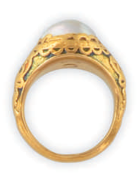 An Art Nouveau gold and pearl ring, by Weise. Centring a large pearl mounted in finely engraved yellow gold enamelled with an Art Nouveau motif. Signed Weise.