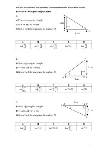 Maths Ks3 Ks4 Foundation Higher Multiple Choice Pythagoras Trigonometry Trigonometry Math Math Geometry
