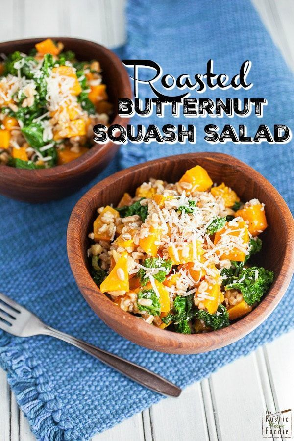 Roasted Butternut Squash, Kale, and Farro Salad Looking for new ways to enjoy squash? Try this Roasted Butternut Squash, Kale, and Farro Salad. This healthy butternut squash salad is tossed with kale and farro for a sweet and savory fall side dish! It would make a great addition to a Thanksgiving or holiday dinner menu.