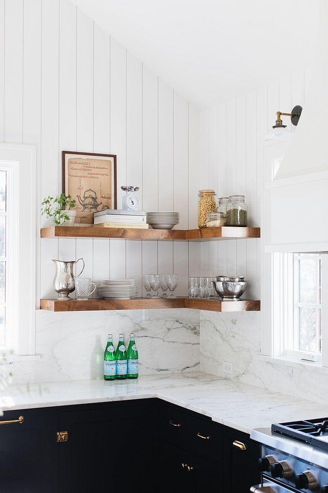 Kitchen Floating Chunky Shelves Farmhouse Kitchen With