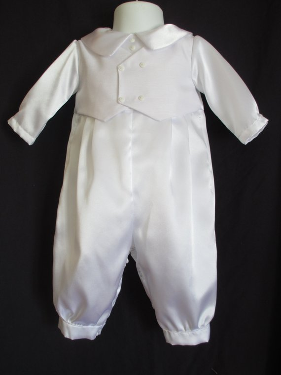 de977bfb3 Baby Reborn/Boy Christening Gown/ Baptism Outfit Romper Size 0-18 Months
