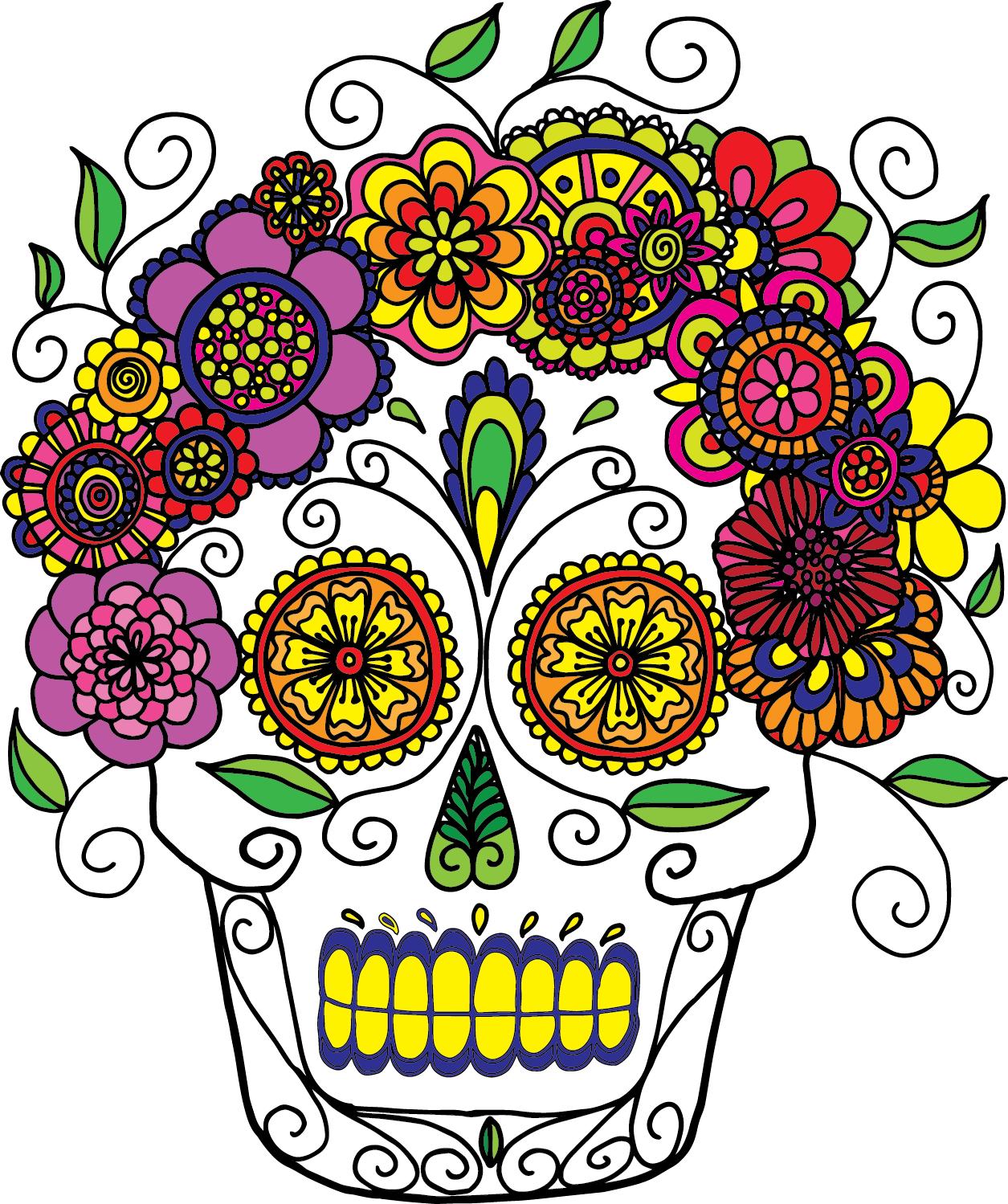 Adult Coloring Pages - Sugar Skulls | mexican folk art | Pinterest ...
