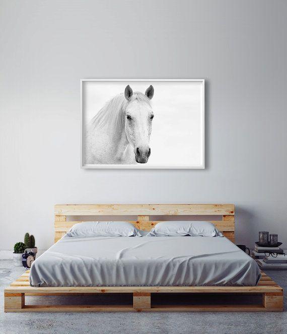 White Horse Photography, Horse Wall Art, Gift For Horse Lover, Horse Art  Print, Black And White Horse Print, Master Bedroom Art