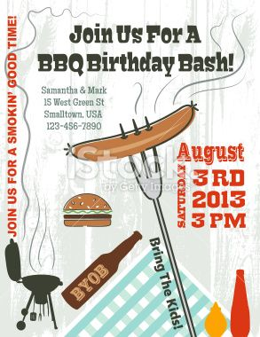 Summer Hot Dog Bbq Vertical Invitation On A Grey Grunge Background