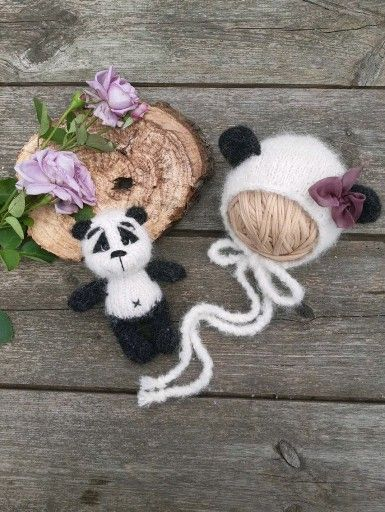Panda set panda toy and bonnet Perfect for a photo shoot Perfectly complement the image in the photo A knitted set of very soft premium alpacas CAP size  for a newborn ba...