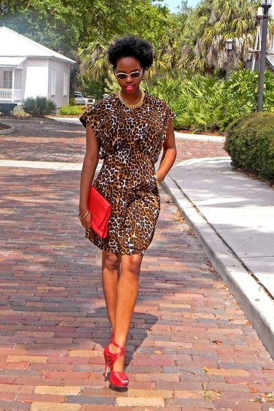 309773c085d Dark-brown-leopard-print-dress-red-strappy-heels | Afro-futuristic ...