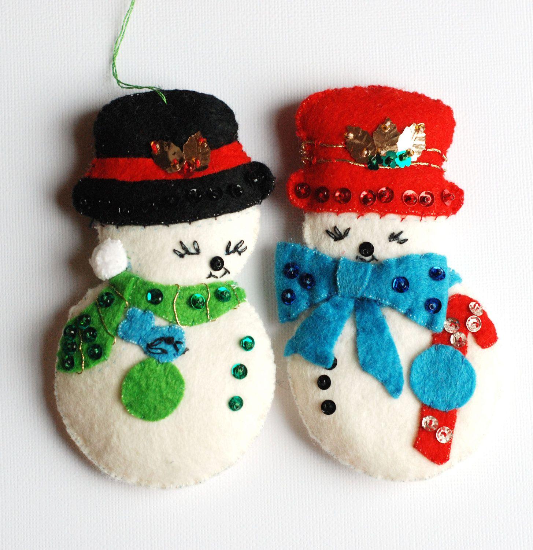 felt ornaments | Snowman Vintage Felt Ornaments with ...