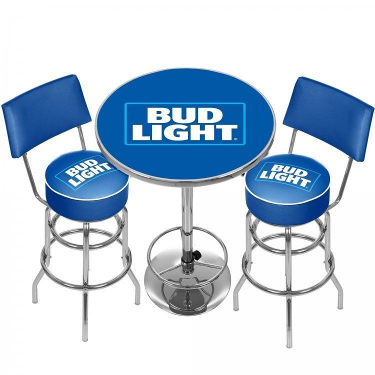 Budweiser Light Bar Stools And Table Set Man Cave 360 Degree Swivel Padded Seat Trademark Pub Table Sets Pub Table Game Room
