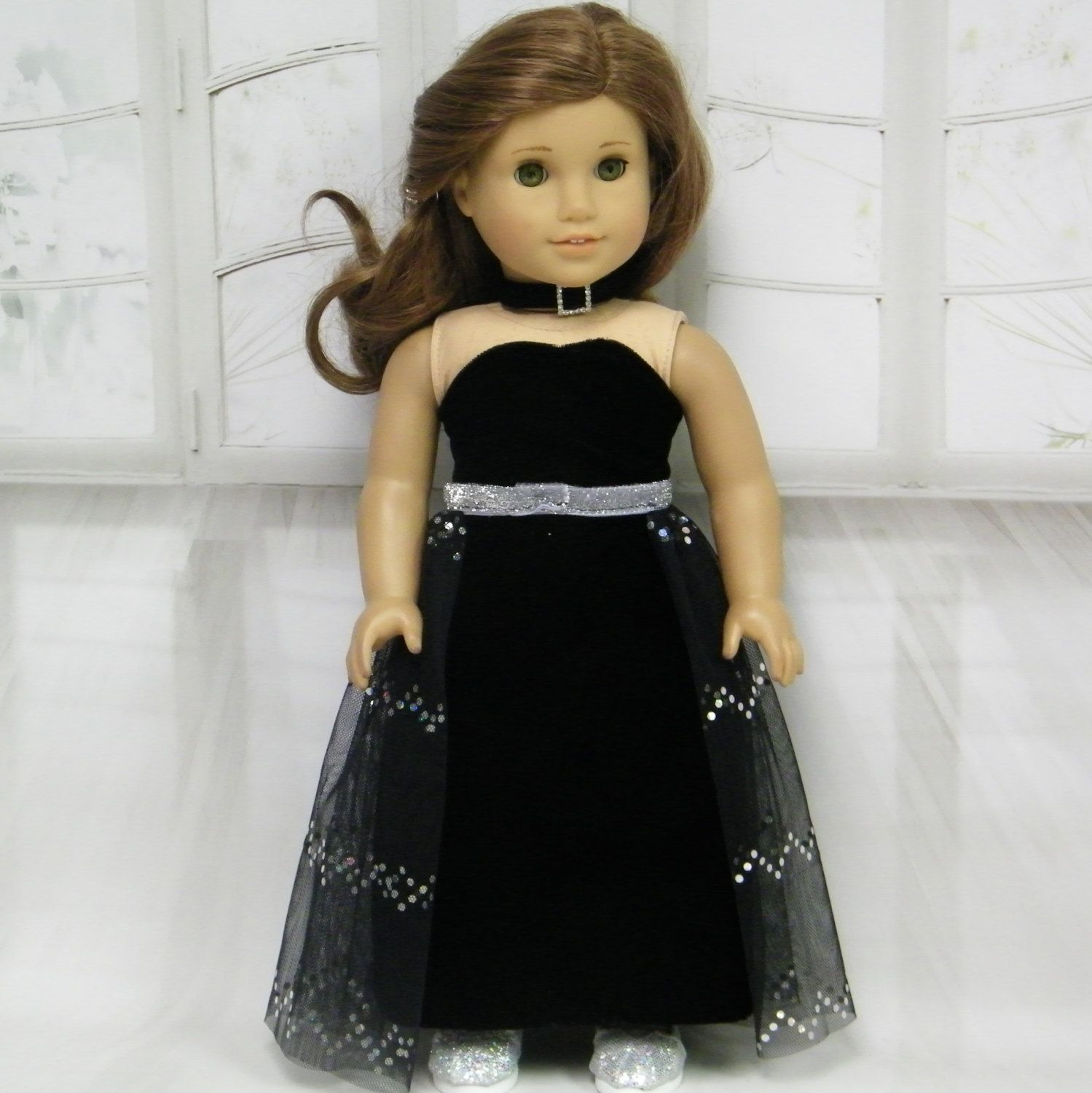 Black velvet gown with over skirt and choker by juliascreations on