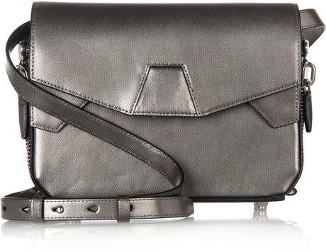 Alexander Wang Silver Metallic Texturedleather Shoulder Bag