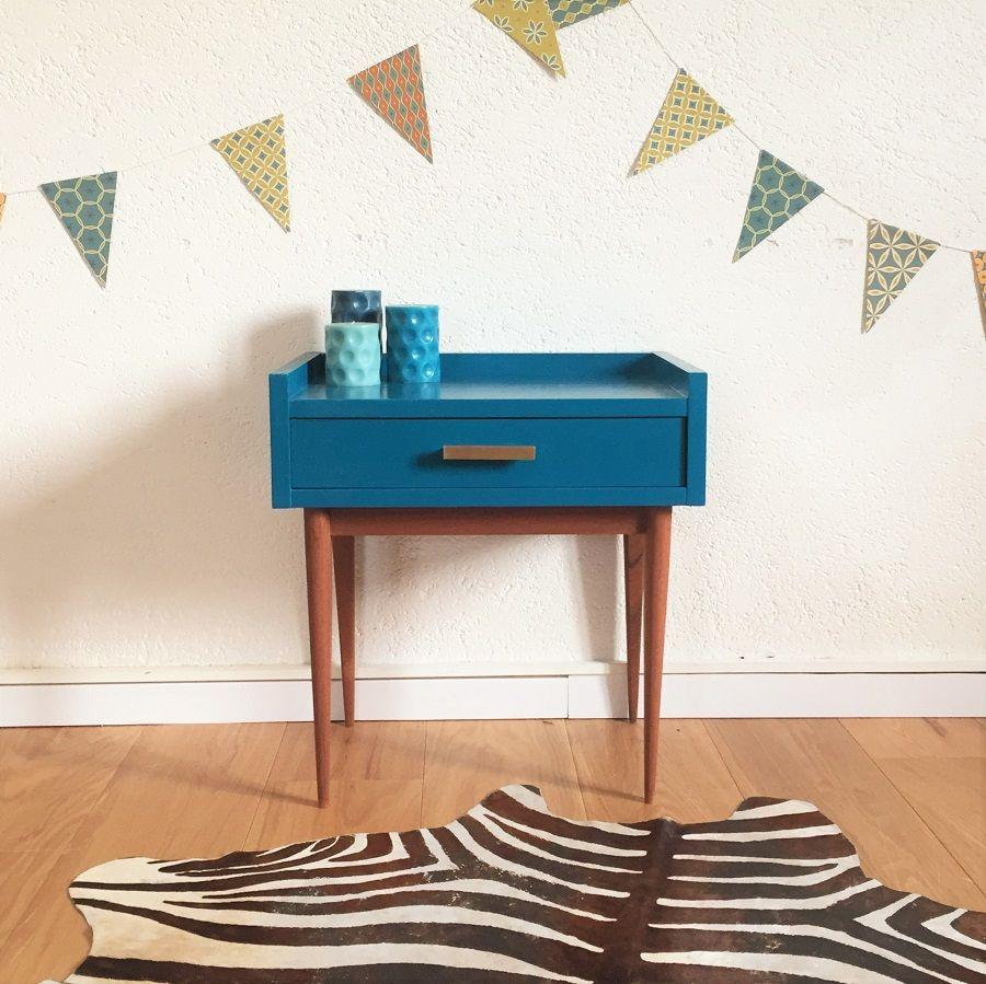 meuble table de chevet vintage bleu p trole chouette. Black Bedroom Furniture Sets. Home Design Ideas