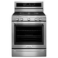 30Inch 5 Burner Gas Convection Range with Warming Drawer