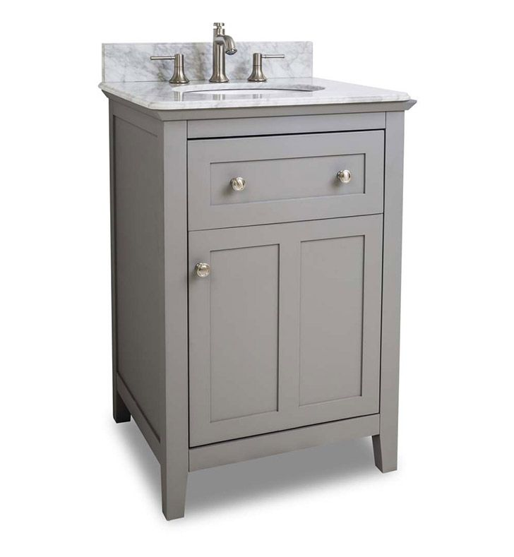 Ansen 24 Inch Bathroom Vanity Grey Finish Carrera White Marble Top
