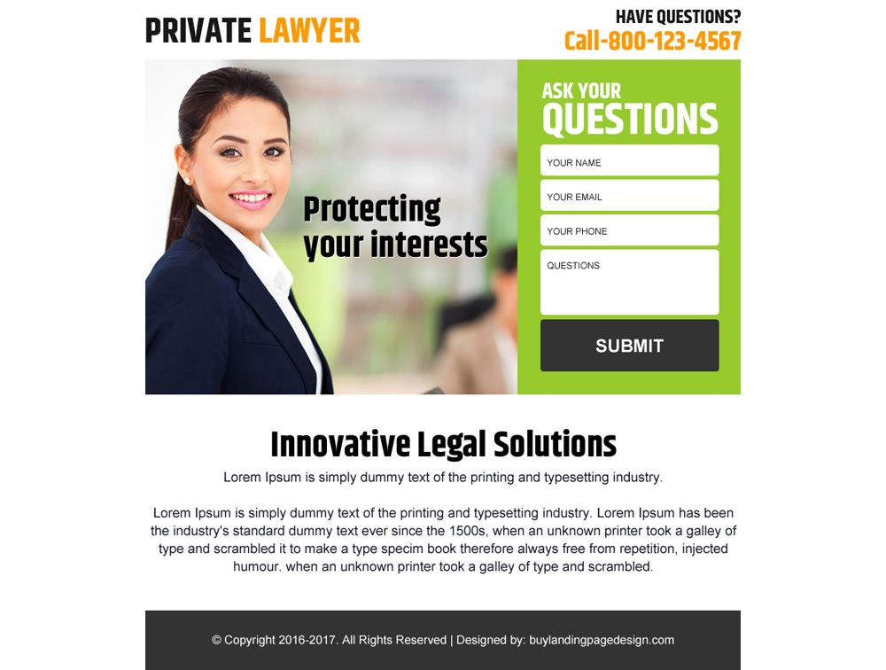Private Lawyer Lead Generating Ppv Landing Page Design Landing