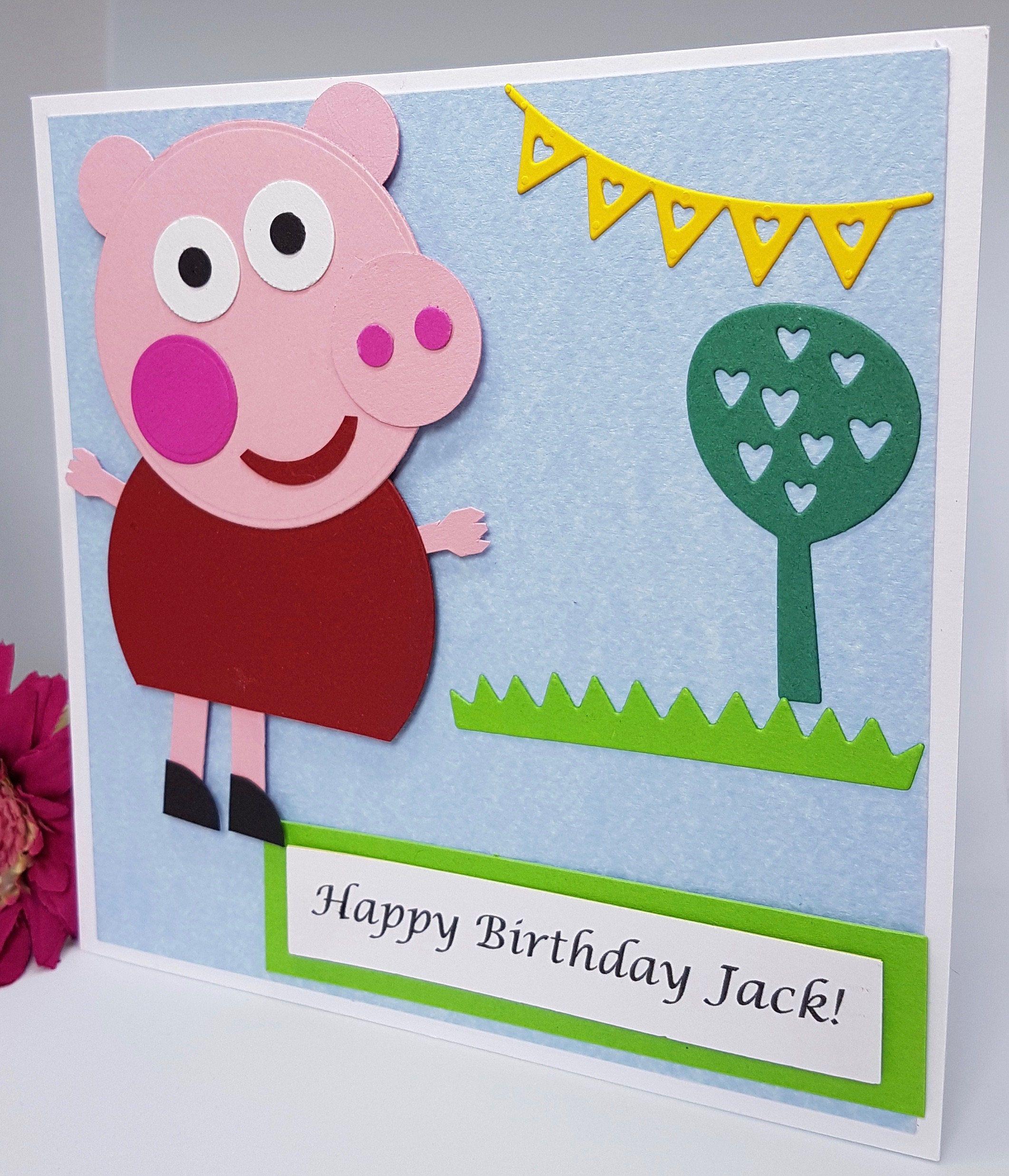 Personalised Peppa Pig Character Birthday Card Handmade Kids Son