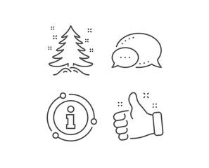 Christmas Tree Present Line Icon Chat Bubble Info Sign Elements New Year Spruce Sign Fir Tree Symbol Linear Christmas Christmas Tree Outline Christmas Tree With Presents Tree Outline