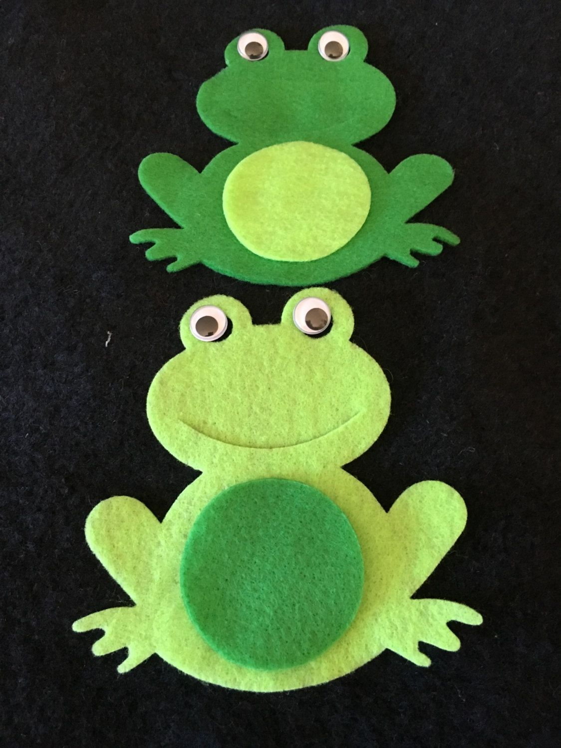 Felt Frog Shapes-DIY Kits for Parties and School-Boy Birthday Party Craft Kits-Quiet Books-Felt Die Cut Frog-Frog Applique-Embellishment #dolistsorbooks
