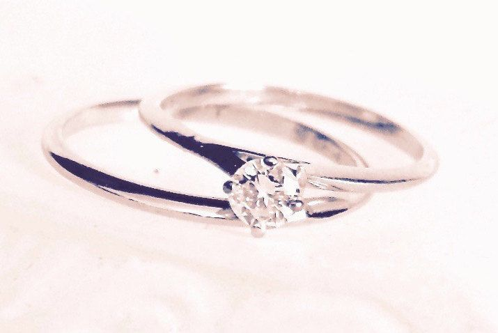 Vintage Diamond Solitaire 14K White Gold Engagement Ring Set, Wedding by EclairJewelry on Etsy