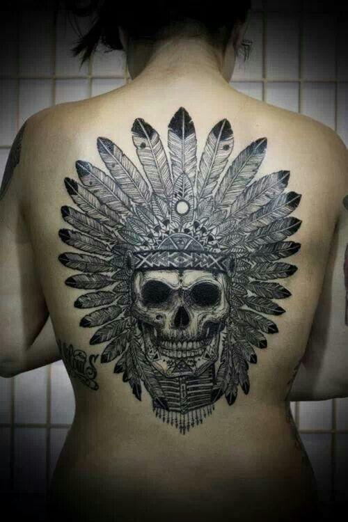 6d53d8bb47b69 Native American Indian Chief Skull Tattoo | Skulls & Skeletons ...