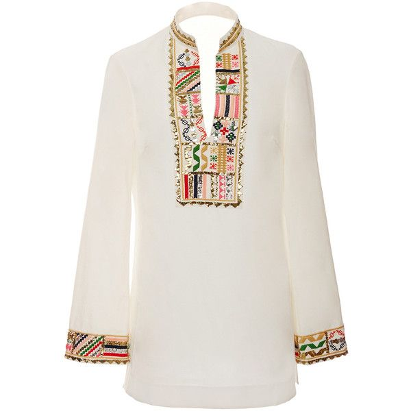 17c9d63eca7 Tory Burch Embellished Tory Tunic ($450) ❤ liked on Polyvore featuring  tops, tunics, white, embroidered top, tory burch tunic, long tops, tory  burch and ...