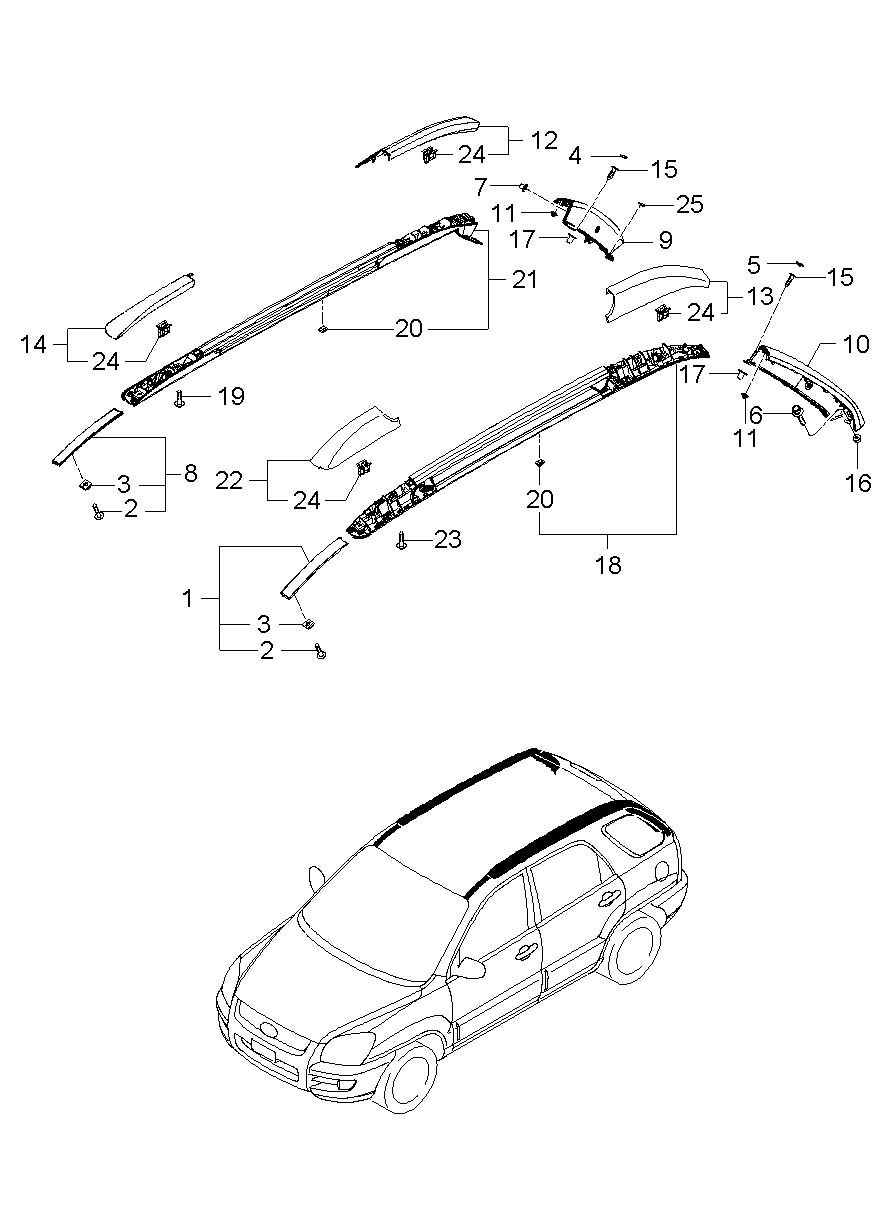 Cover Roof Rack Front Left Left Hand Roof Moulding Roof Rack Made By Kia 872911f000 Roof Rack Left Handed Cover