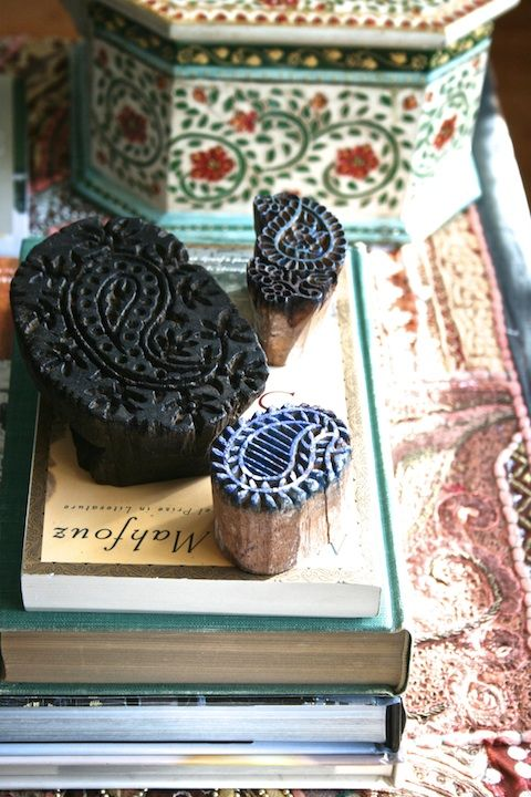 Styling with paisley wood blocks used for block printing on fabrics. Seen in the Dec issue of Once Upon A Tea time magazine. #paisley #woodblock #blockprinting #India http://onceuponateatime.blogspot.com/2013/12/presenting-once-upon-tea-time-magazine.html