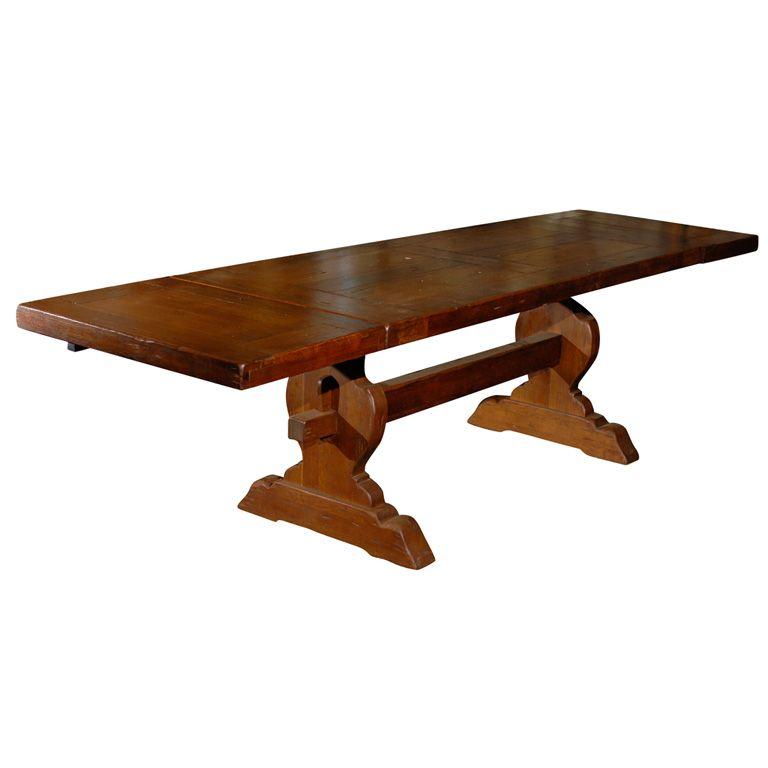 French Monastery Trestle Table This Handsome Trestle Table Is Made Of Platane Wood Similar To Sycamore Trestle Table Plans Trestle Dining Tables Trestle Table