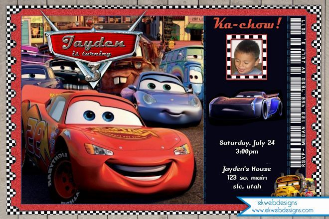 Disney Cars 3 Birthday Invitation